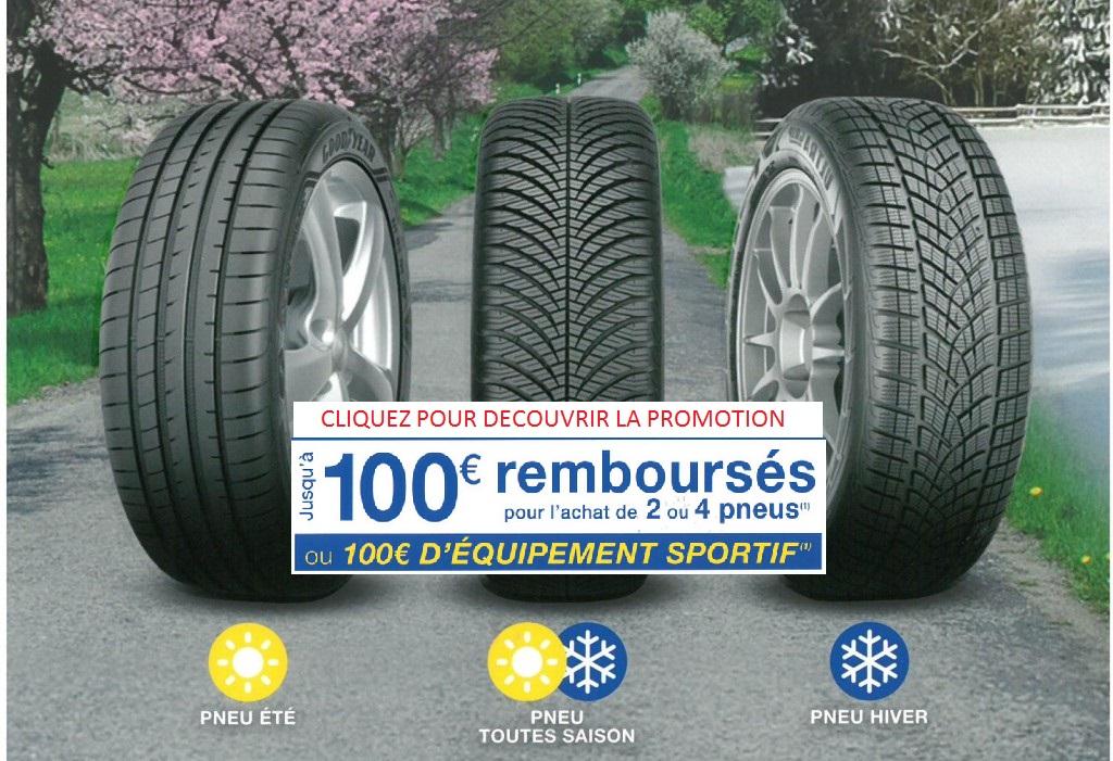 Jusqu'à 100 € remboursés pour l'achat de pneus Goodyear !
