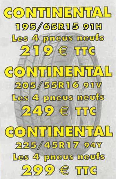 Promotion pneus continental