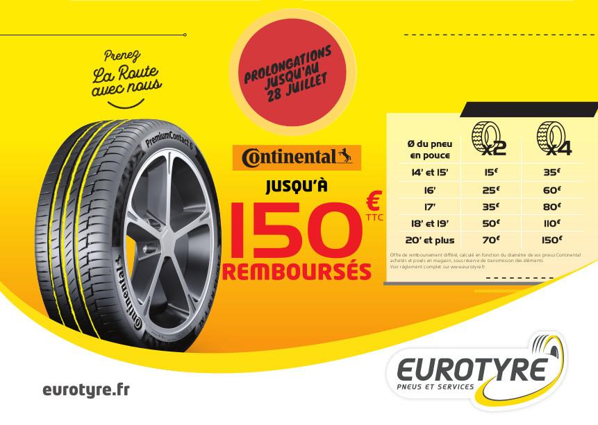 Promo Eurotyre sur les pneus Continental !