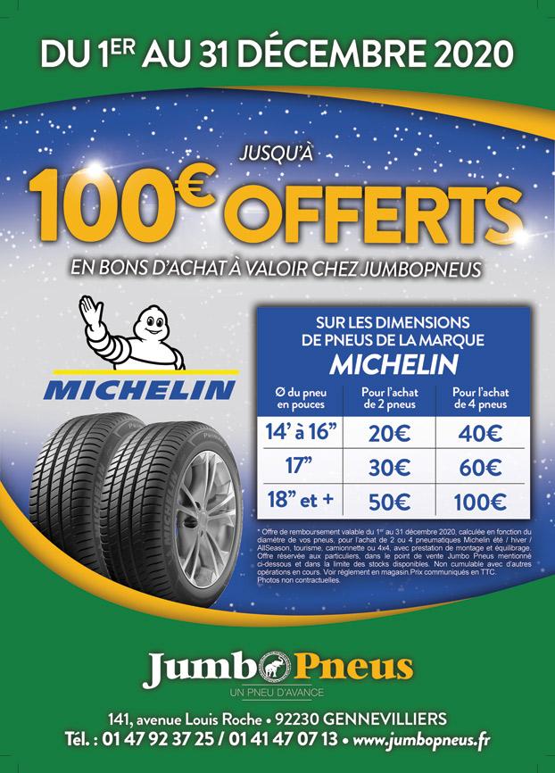 Promotion sur les pneus Michelin, jusqu'à 100 € offerts!