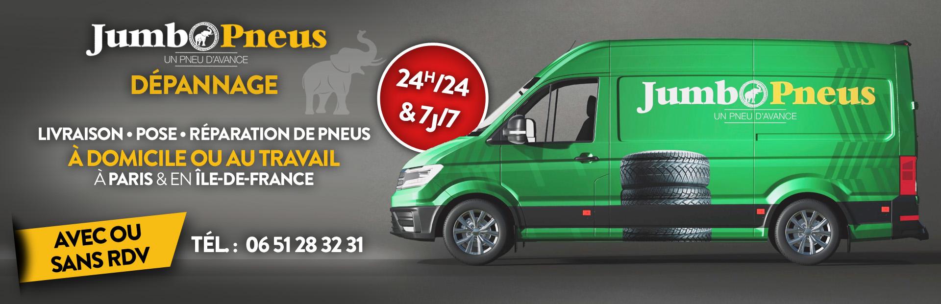 Jumbo Pneus Atelier Mobile - Dépannage Pneus Paris Ile de France 24h/24 et 7j/7