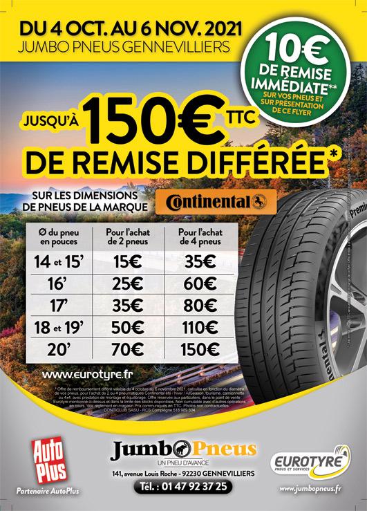 Remise exceptionnelle sur les pneus CONTINENTAL